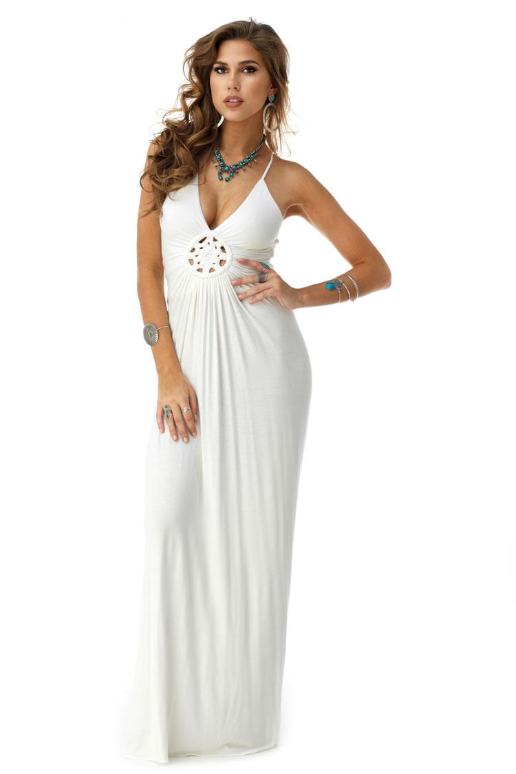 SKY Women's POLARIS Maxi Dress, White POLARIS-WHT-White-Large