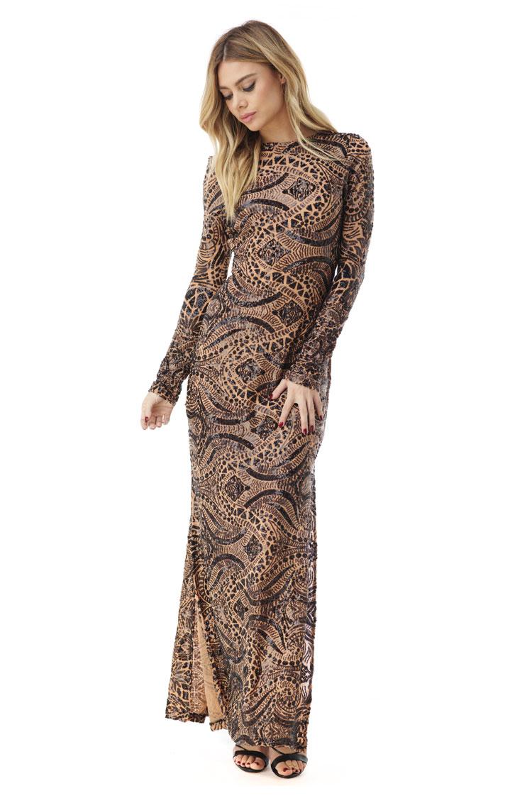 SKY Women's SANIYYA Maxi Dress, Nude SANIYYA-NUD-Nude-Extra Small